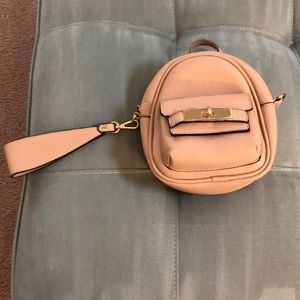 Cute blush tiny backpack wristlet